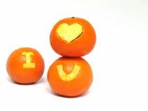 橙色果子,与标志`的健康有机桔子我爱u ` 免版税库存照片