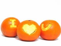 橙色果子,与标志`的健康有机桔子我爱u ` 免版税库存图片
