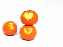 橙色果子,与标志`的健康有机桔子我爱u ` 库存图片