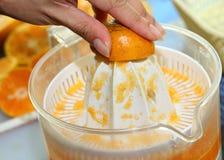 橙色果子紧压了用妇女手在榨汁器机器 免版税库存照片