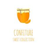 橙色果酱瓶子,蜜饯美好的收藏,设计的元素 免版税库存照片