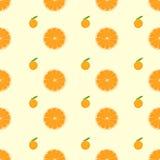 橙色柑桔切片无缝的样式传染媒介 免版税库存图片