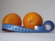 橙色桔子,饮食,减肥,健康,厘米 免版税库存照片