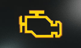 橙色检查引擎显示仪表板灯 免版税库存图片
