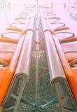橙色椅子行乘客的 免版税库存图片