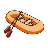 橙色橡胶救生艇 小船,在大小船的边称抢救的 唯一船和水的运输 向量例证