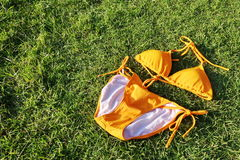 橙色比基尼泳装 免版税库存照片