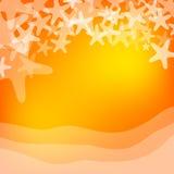 橙色海和海星例证 免版税图库摄影