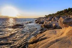橙色海滩哈尔基季基州,希腊 免版税库存照片
