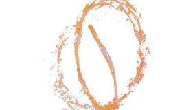 橙色液体流程当糖浆或甜柠檬水转动入旋涡或龙卷风 液体流程转动 股票录像