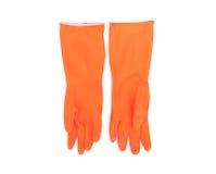 橙色清洗的颜色橡胶手套在白色背景, ho 库存图片