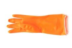 橙色清洗的颜色橡胶手套在白色背景, hou 免版税库存图片