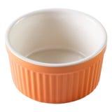 橙色烘烤盘杯形蛋糕倒空被隔绝的特写镜头 库存照片
