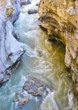 橙色热和蓝色寒冷两流程水碰撞抽象河 免版税图库摄影