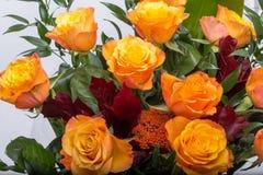 橙色玫瑰美丽的花束 免版税库存图片