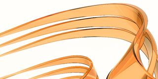 橙色玻璃弯曲的3d例证回报白色背景 免版税图库摄影