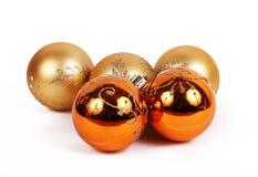 橙色球圣诞节装饰品 库存照片