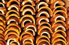 橙色瓦屋顶堆  免版税图库摄影