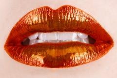 橙色的嘴唇 库存图片