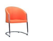 从橙色皮革的办公室椅子 查出 免版税库存图片