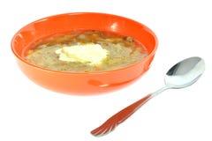 橙色碗汤用圆白菜 免版税图库摄影