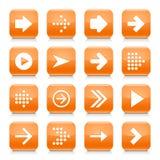 橙色箭头标志环绕了方形的象网按钮 库存图片