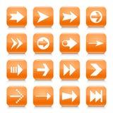 橙色箭头标志环绕了方形的象网按钮 免版税库存照片