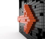 橙色箭头, 3D 免版税库存图片