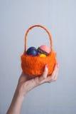 橙色篮子用鸡蛋在女性手,桃红色指甲油上, 免版税库存图片