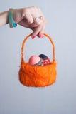 橙色篮子用鸡蛋在女性手,桃红色指甲油上, 库存照片