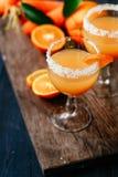 橙色红萝卜鸡尾酒 免版税库存照片