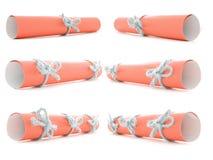 橙色纸纸卷栓与手工制造绳索和弓收藏 免版税库存照片