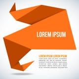 橙色纸Origami多角形形状传染媒介背景 免版税库存照片