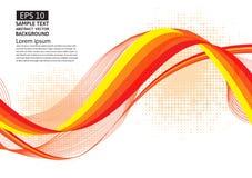 橙色线波浪几何抽象传染媒介背景 库存例证