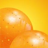 橙色网络地球背景 库存图片