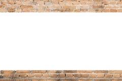 橙色老砖样式背景与白色空间的 库存图片