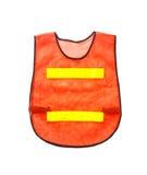 橙色背心,隔绝在白色和裁减路线 库存照片