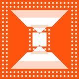 橙色背景 几何图和圈子的白色样式 图库摄影