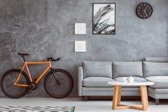 橙色自行车在客厅 免版税图库摄影