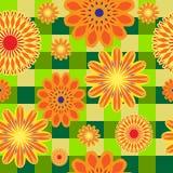 橙色花的无缝的明亮的样式在绿色方格的背景的 皇族释放例证