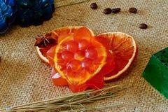 橙色芳香肥皂 免版税库存图片
