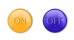 橙色蓝色的按钮 免版税库存照片