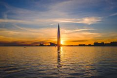 橙色蓝色芬兰湾,圣彼德堡,俄罗斯 库存图片