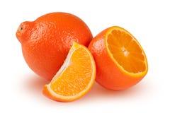 橙色蜜桔或Mineola与在白色背景和切片隔绝的一半 图库摄影