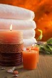 橙色蜡烛 库存照片
