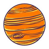 橙色行星象,手拉的样式 库存例证