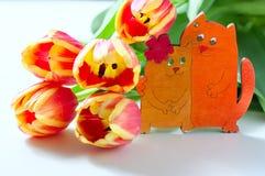 橙色郁金香和猫小猫爱心脏在白色背景的华伦泰浪漫史 免版税图库摄影