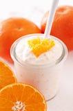 橙色酸奶 免版税图库摄影