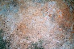 橙色铁锈证明和绿色青苔地衣在老水泥地板上 免版税图库摄影