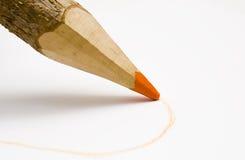 橙色铅笔木头 免版税库存照片